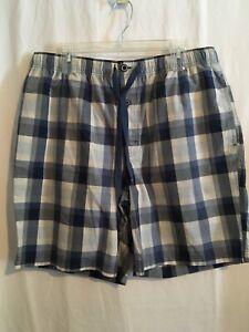Cremieux Men Sleep Lounge Pajama Shorts Sz XLT 2XB Blues White Checks NWT