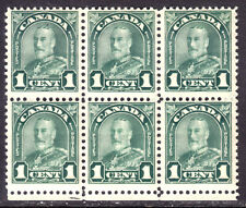 "CANADA #163ii 1c GREEN, 1930 KGV DIE I ""RE-ENTRY in 1"" BLOCK/6, F, OG-LH"
