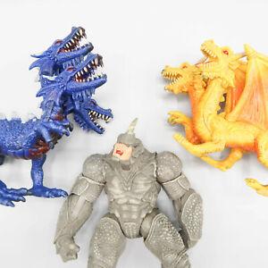 3 Headed & 2 Headed Dragon Fantasy Figure & Hasbro Rino figure Marvel Toy Lot