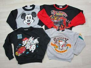 Vintage Kids Sweatshirt LOT 4 Youth Mickey Mouse Disney Snoopy 101 Dalmatians
