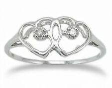 Great Price! 10K White Gold & Diamond Dual Heart Fashion Ring