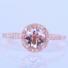 SOLID 10K ROSE GOLD HALO 6MM ROUND MORGANITE PAVE DIAMONDS WEDDING GEM RING