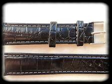 BRACELET MONTRE SIMILI CUIR 18mm NOIR /* BOUCLE ARGENTÉE /* REF/Cp46