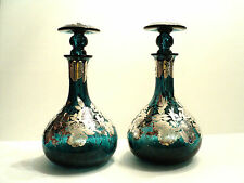 ONE Laugharne Glass Art Glass Decanter, Sterling Silver Overlay, Teal Color