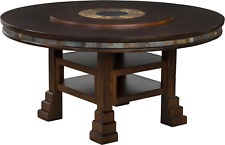 Antique Style Round Dining Table in Handmade Chocolate Brown Wood w/ Extension