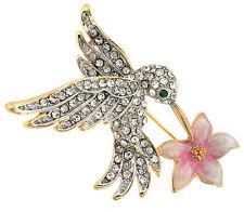 Humming Bird Feeding on Flower Pin Brooch Sparkling Crystals Green Crystal Eye