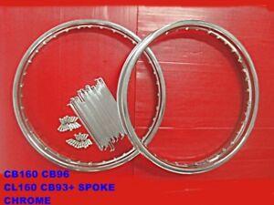 HONDA CB160 CB96 CL160 CB93 FRONT & REAR CHROME WHEEL RIM + SPOKE SET [mi4836]