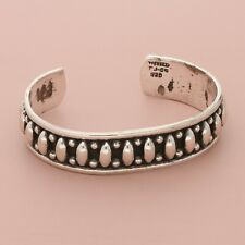 """taxco mexico sterling silver vintage coffee bean cuff bracelet 6.25"""""""