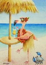 40% OFF SALE! ACEO Limited Edition Print Beach Babe Flamingo 4 Bird Ocean Beach