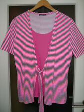Via Appia  Stretch-Kurzarm-Shirt  vorne zu Binden Streifen pink-weiß   Größe 46