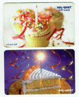 Walmart Gift Card LOT of 2 - Birthday Cake, Sparkler, Cupcake - Older - No Value