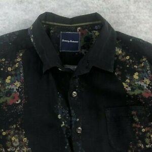Tommy Bahama Men's Black 100% Silk Floral Short Sleeve Shirt Size XL