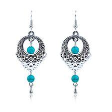 Vintage Jewellery Long Turquoise Retro Silver Dangle Earrings Chandelier E90