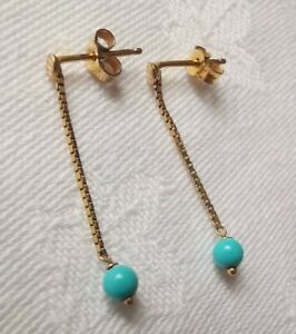 9ct Gold Long Turquoise Earrings