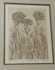 RUTH LEAF -  ARTIST PROOF  INTAGLIO ETCHING -  CARNATIONS HAND SIGNED
