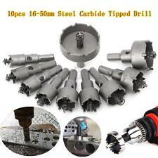 10Pcs Carbide Tip TCT Drill Bit Hole Saw Cutter Steel Metal Wood Alloy 16-50mm