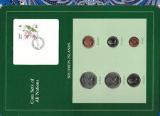 Coin sets of all Nations Solomon Islands w/card UNC 1977-1987 5 & 10 cent FM(U)