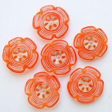 RachelArt Orange Flowers Lampwork Glass Beads Spiral Handmade