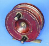 Antique wooden & brass fishing reel, Made in England 3 inch diameter [20882]