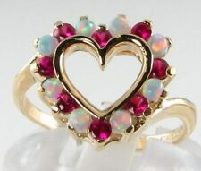 ENGLISH MADE 9K AUS OPAL & RICH RUBY HEART RING