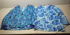 Lot of 2 Blue Purple Floral Print Flower Scrub Jacket size S small