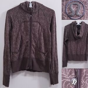 Lululemon Brown Flower Spandex Zipper Sweater Size 6 Small Womans Stretch Hoodie