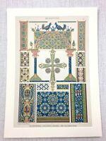 1883 Antique Print Byzantine Glass Mosaic Enamel Work Illuminated Manuscript Art