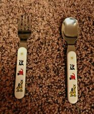 Vintage Kids Spoon And Fork Set, White handle, Animals