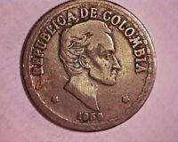 Moneda, Colombia, 50 Centavos, 1958, Cobre - níquel