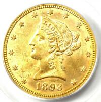 1893 Liberty Gold Eagle $10 - Certified PCGS MS62 CAC (BU UNC) - Rare Coin!