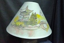 XL Hand Painted Table Lamp Shade Asian Scene Excellent Condition