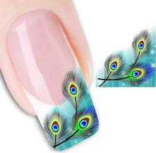 Green Blue Peacock Feathers 3D Nail Art Sticker Decal Decoration Manicure