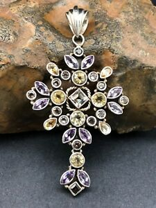 UNIQUE CROSS with AMETHYST & CITRINE set in 925 STERLING SILVER FREE SHIPPING !