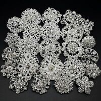 Lot 24 pc Mixed Alloy Sliver Rhinestone Crystal Brooch DIY Wedding Bouquet