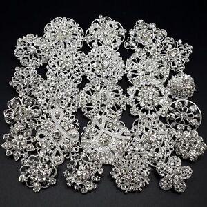 Lot 24 pc Mixed Alloy Sliver Rhinestone Crystal Brooch DIY Wedding Bouquet