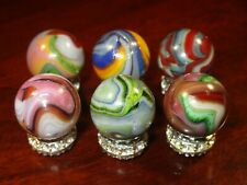 6 Collectible Glass Marbles Pretty Colorful Swirl Aventurine Group 45/64
