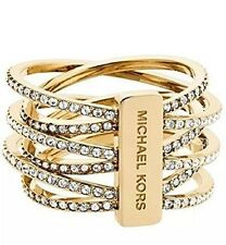 NWT Michael Kors GOLD SS RING Pave INTERTWINED Size 7 MKJ4422 MKJ44227109 $125