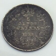1919 Canada 5 Five Cents Small Silver Almost Uncirculated Canadian Coin F302