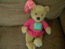 1 Hallmark Kiss Kiss Bear -Girl Bear in pink with Heart on shirt -has tags-L@K!