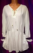 White Top Tie Up Plunge Shirt Boho Nautical Rayon Tunic Cover up 2X W