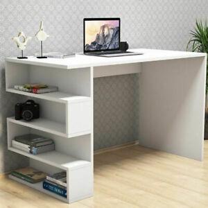 110x60cm Large Computer Table Desk with Storage Shelves PC Laptop Worksation