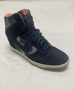 Nike Dunk Sky Hi Blue Camo Wedge Sneakers RARE 543258-401 Women Sz 9