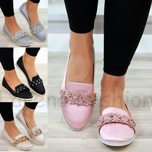 New Womens Flat Pumps Comfy Slip On Ballerinas Casual Plimsolls Flower Shoes