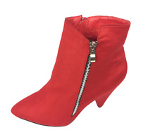 Womens Ladies Red Faux Suede High Heel Winter Shoes Ankle Boots Size UK 8 New