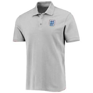 England Football Men's Small Crest Polo Shirt   Grey