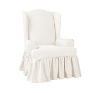 SureFit SF46969 Slipcover with Scotchgard, Wing Chair, Oyster