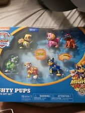 PAW PATROL Mighty Pups 6 Figure Lot Lights-up - Zuma Skye Marshall Rocky Rubble