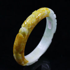 Jadeite Gems Bangle Bracelet a2123 62mm Chinese Hand-carved Yellow Green Jade