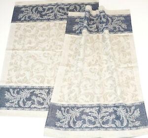 2x Tea Towel Art Nouveau Kracht Jacquard half-Linen Kitchen Cloths Baroque Blue