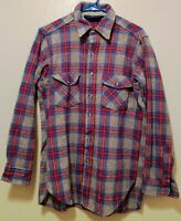 Woolrich Wool Mens Plaid Shirt Large Vintage Thick Wool Long Sleeve EUC